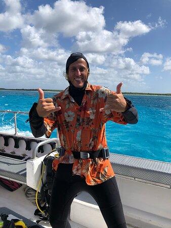 """Cozumel Local Snorkel Trip: Rodrigo sporting his Go Deep Scuba """"Aloha"""" shirt"""