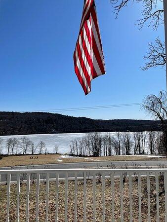 Kenoza Lake, NY: View of the Lake from the front porch rockers and door