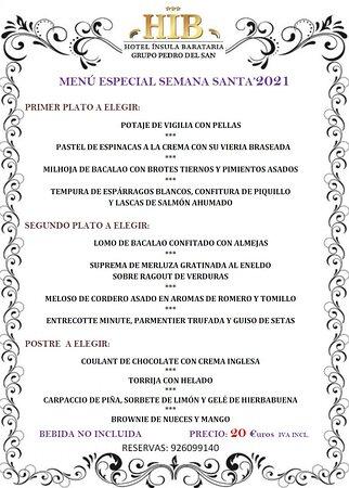 Menú de Semana Santa