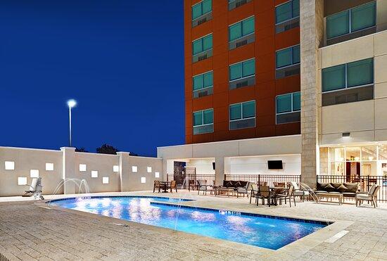 Exterior swimming pool at dusk