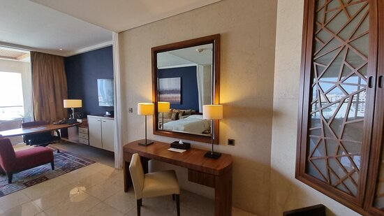 A vanity desk aside from the business desk.