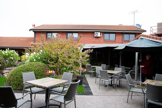 Check out our new courtyard area complete with tables and chairs.