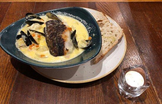 Hake waterzooi, chowder base with pan fried hake