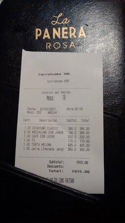 Ticket de Consumo de La Panera Rosa: Esquina de Av. Corrientes y Maipù del Microcentro Porteño, Ciudad de Bs.As. Argentina 2021.