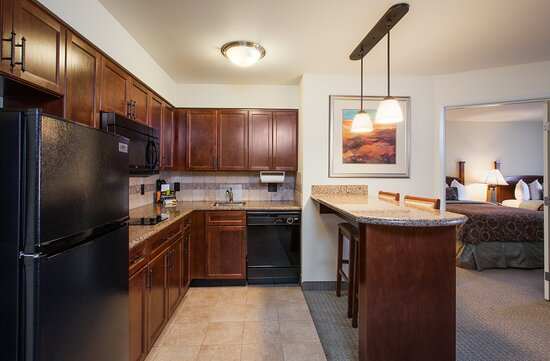 Our full kitchens offer a fridge, microwave, stove and dishwasher