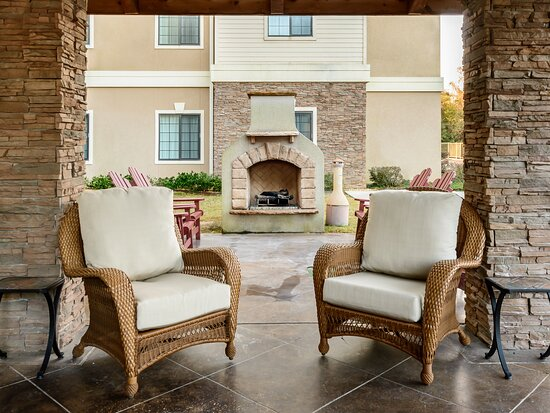 Enjoy the outdoors on our Guest Patio by our outdoor fireplace.