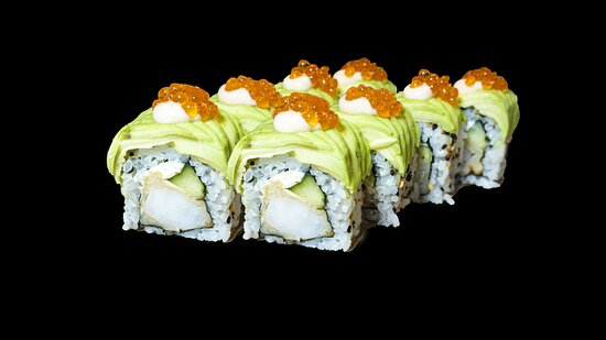 Dragon shrimp tempura sushi roll