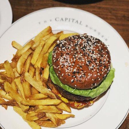 Vegetarian Burger: House-Made Mushroom and Black Bean Burger, Fontina, Bibb Lettuce, Chile Mayo