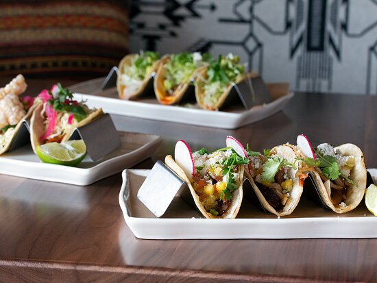Assorted tacos: with organic chicken, grass-fed beef, and vegetarian options