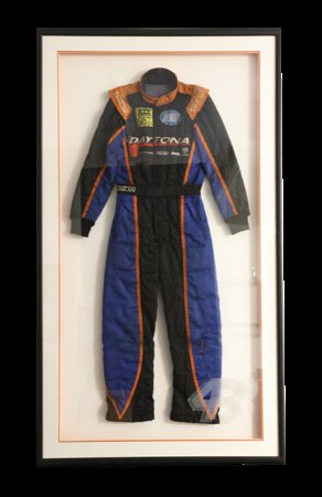 Daytona Beach Nascard Race Suit in a Frame of Mind custom shadowbox! Matted, mounted, and preserved under etched glass.