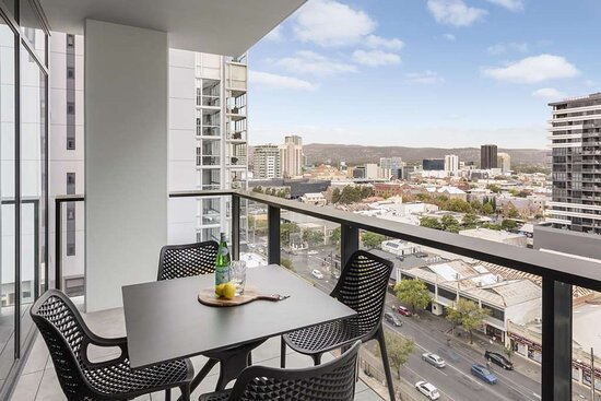 Two Bedroom Superior Suite balcony with city view