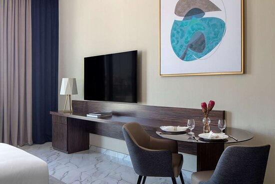 Studio dining table and mounted TV