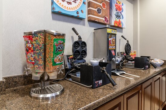 Variety of cereals and make your own waffle stations