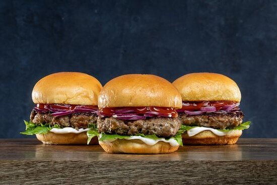 Gorilla Beef Slider- (3) Beef Patty Sliders with your Choice of Free Toppings and Sauce, served on a Toasted Potato Bun.