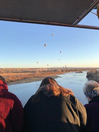 Albuquerque Sunrise Hot Air Balloon Flight: Dropping down to the Rio Grande