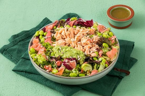 Salmon Miso Bang Bang Salad (Keto)- Keto Salad with Mixed Greens, Miso Salmon, Avocado Mash, Pickled Ginger, Edamame, and Sunflower Seeds with your Choice of Dressing (served on the side).