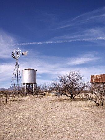 Empire Ranch water tank, wind mill still works.