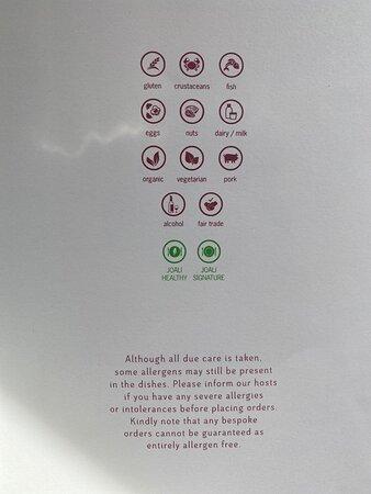 Ala carte menu from Vandho  breakfast area