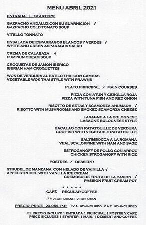 April menu 3 courses and coffee for 24,95euros