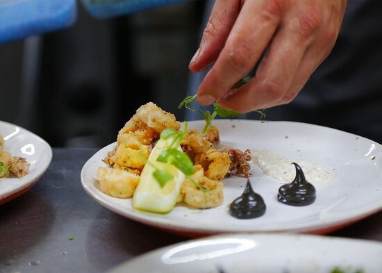 Patagonian calamari prep in the kitchen.