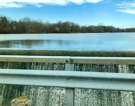 Small dam on the lake.