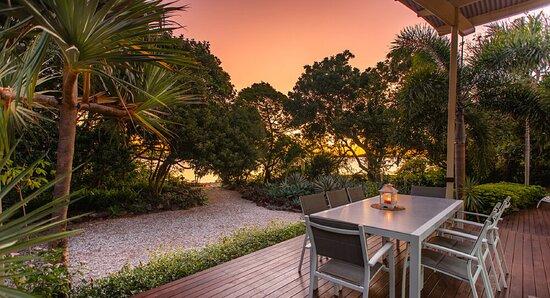 Front alfresco deck at sunset