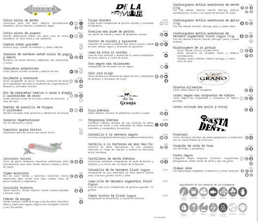 Algarinejo, Španělsko: menu de nuestro gastrobar