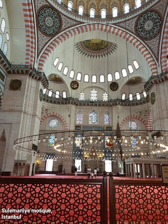 """Designed by the well known Ottoman era architect """"Mimar Sinan"""" on the orders of Sultan Suleiman the magnificent and inaugurated in 1557, the iconic Suleymaniye mosque was made to function as a kuliye(complex) with public kitchens, Hammams(baths), public clinic, religious school and it later housed moseleums of Sultan Suleman and his wife Hurrem Sultan. Sulemyaniye mosque is located on the hill and city & bosphorus view from its rear lawns is breathtaking.   ENTRY TO SULEYMANIYE MOSQUE IS FREE !!"""