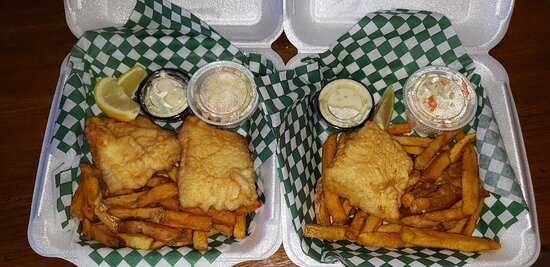 Friday fish and chips. Order for 1 fish and chips and 2 fish and chips