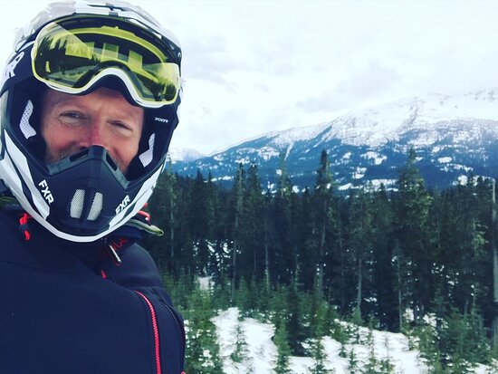 Callaghan Cruiser Snowmobile Tour: You can't see the grin for the helmet...