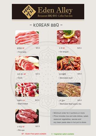 Menu for Korean BBQ