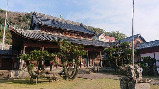 Nagasaki, Japan: beautiful temple with unique foliage