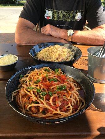 Branxholm, Úc: Spaghetti Marinara and spaghetti carbonara. Both delicious