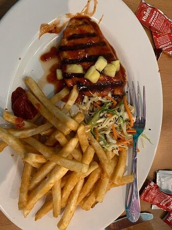 The Island French Fry plate. with chicken.