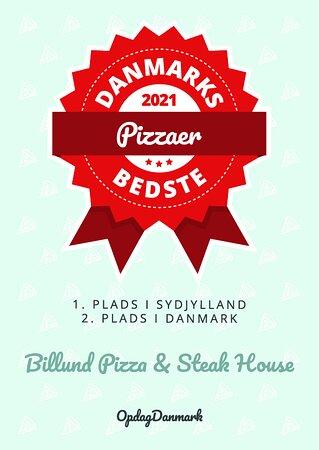 Vi er rigtig glade for, og meget stolte af, at så mange har stemt på os i konkurrencen om Danmarks bedste Pizzeria  Billund Pizza & Steakhouse fik: 1. Plads i Sydjylland 2. Plads i Danmark  Af hjertet tusinde tak for alles støtte <3