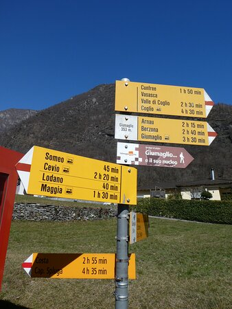 signpost for hiking trails at Giumaglio