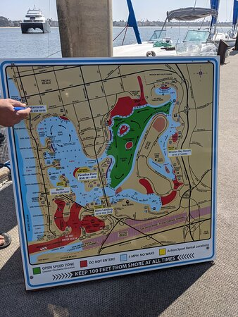 Action Sports map of power boating areas in Mission Bay.