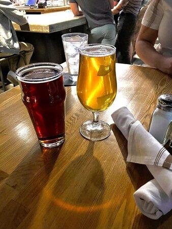 Zitrone Farmhouse Ale (R) and Irish Red Ale (L)