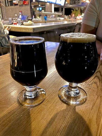 Cuppa JOE Imperial Milk Porter (R) and the 2020 King Size Candy Bar Milk Stout (L)