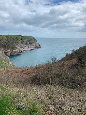 Unspoilt views each way along the Channel coast.