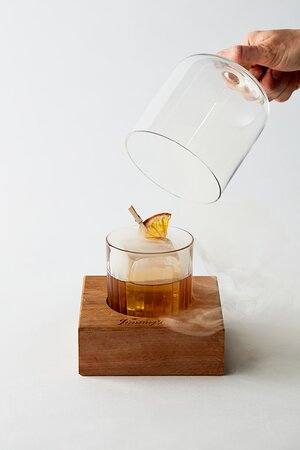 Lady Marmalade - A Little Taste Of Theatre JimmyRum Barbados, Montenegro Amaro, Smoked Vanilla syrup and Fee Brothers Orange Bitters, smoked on serving