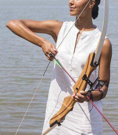 Lady practising archery