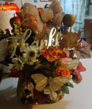 Abbeville, AL: Another flower arrangement i made of the same if u look close this one has little metal door chimes since shes so hard to get up in the morning here make her smile
