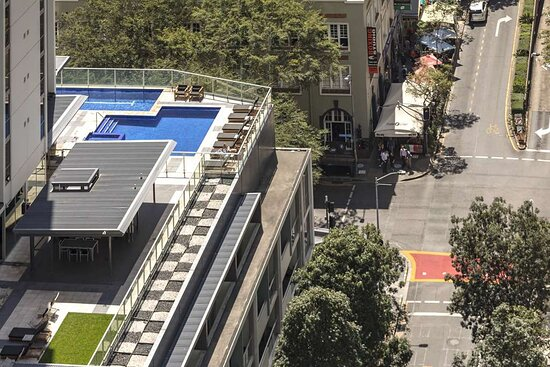 Exterior view of swimming pool and city streets
