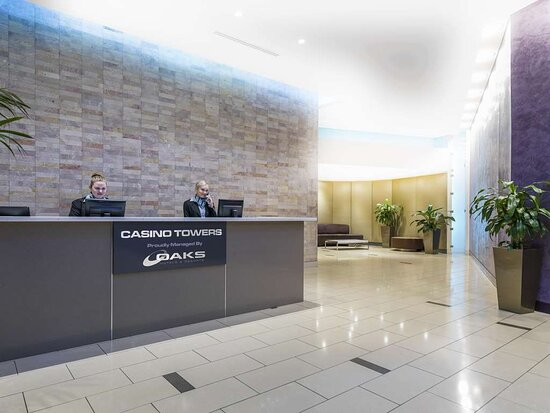 Interior view of reception desk in lobby