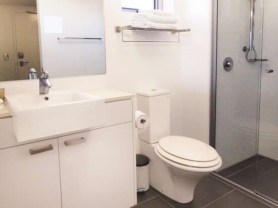 Interior view of bathroom in Studio with shower