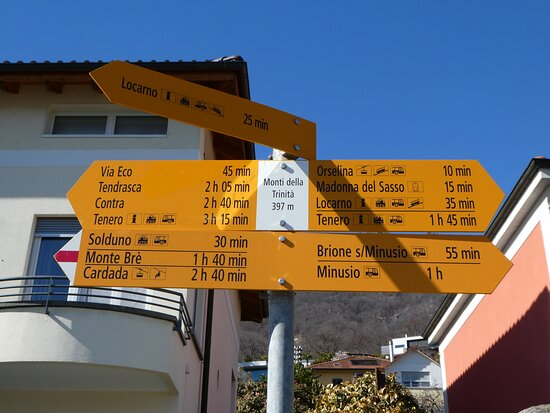 signpost at 'Monti della Trinitá', start or end of the walk