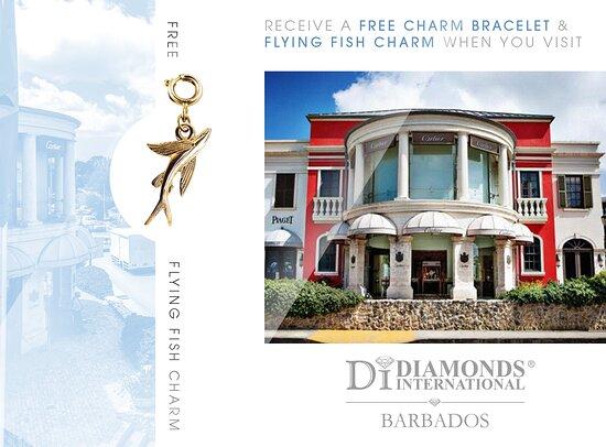 Holetown, Barbados: Receive a Free Charm Bracelet & Flying Fish Charm When You Visit Diamonds International Barbados.