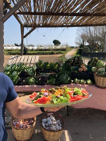 Las ensaladas de Cal Cosinet, hechas con los productos del huerto que podrás encontrar en nuestra tienda, junto al restaurante.