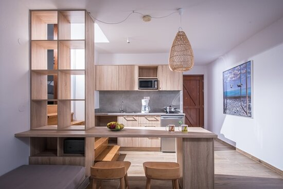 Superior 1-Bedroom Apartment kitchen living room